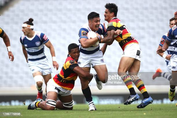 Tanielu Tele'a of Auckland is tackled during the Mitre 10 Cup Semi Final match between Auckland and Waikato at Eden Park on November 21, 2020 in...
