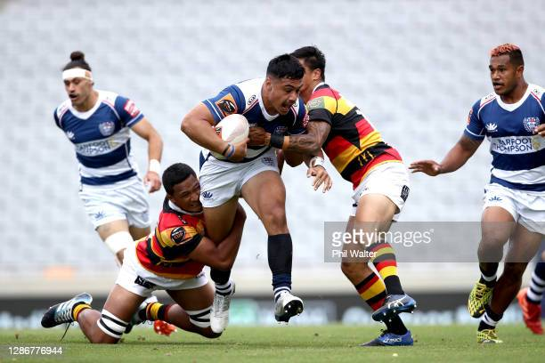 Tanielu Tele'a of Auckland is tackled during the Mitre 10 Cup Semi Final match between Auckland and Waikato at Eden Park on November 21 2020 in...