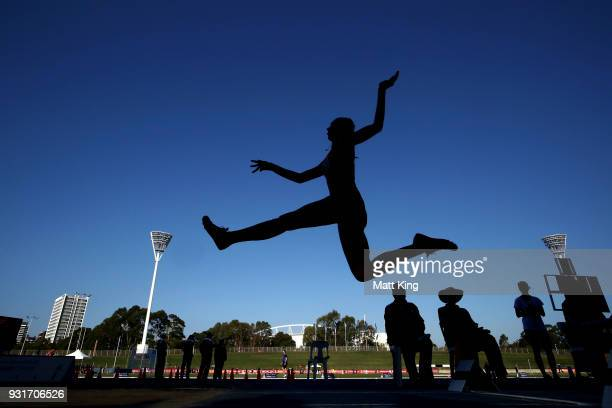 Tanika Lockley of WA competes in the Women's Long Jump Under 17 during day one of the Australian Junior Athletics Championships at Sydney Olympic...