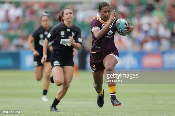 Tanika Marshall of the Broncos runs with the ball during Day 2 of the 2020 NRL Nines at HBF Stadium on February 15, 2020 in Perth, Australia.