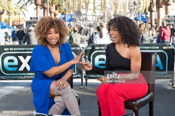 Tanika Ray and Angela Bassett visit 'Extra' at Universal Studios Hollywood on January 10 2018 in Universal City California