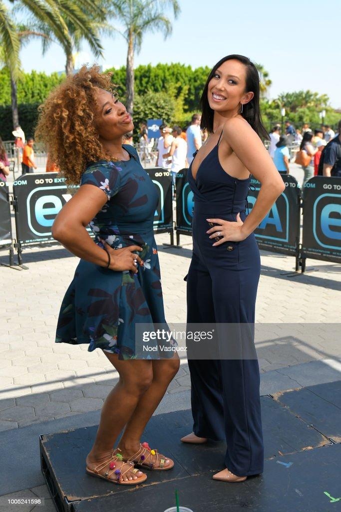 Tanika Ray And Cheryl Burke Visit Extra At Universal Studios