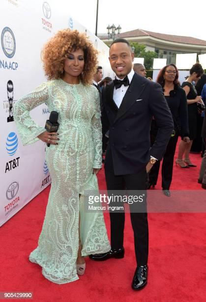 Tanika Ray and Terrence J attend the 49th NAACP Image Awards at Pasadena Civic Auditorium on January 15 2018 in Pasadena California