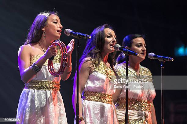 Tanina Cheriet performs with her father Idir at L'Olympia on February 4, 2013 in Paris, France.