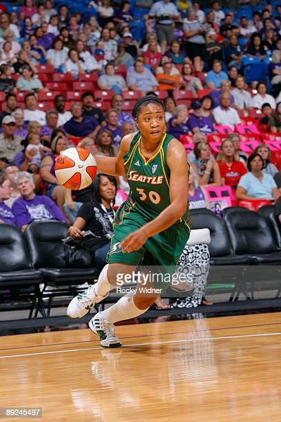 Tanisha Wright of the Seattle Storm drives against the Sacramento Monarchs during the WNBA game on July 17 2009 at ARCO Arena in Sacramento...
