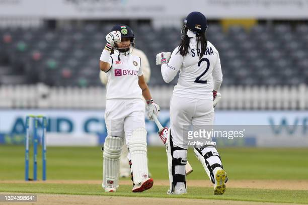 Taniya Bhatia and Sneh Rana of India on Day four of the LV= Insurance Test Match between England Women and India Women at Bristol County Ground on...