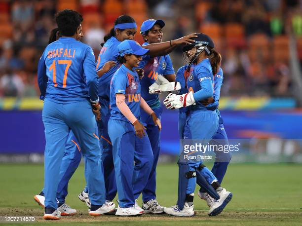 Taniya Bhatia of India celebrates after stumping Annabel Sutherland of Australia during the ICC Women's T20 Cricket World Cup match between Australia...