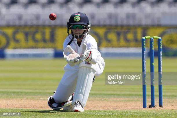 Taniya Bhatia of India on Day One of the LV= Insurance Test Match between England Women and India Women at Bristol County Ground on June 16, 2021 in...