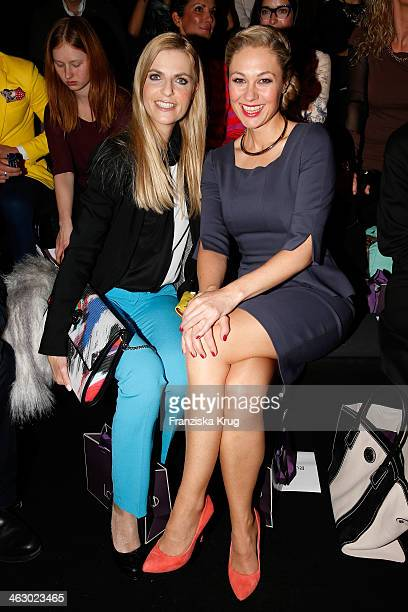Tanja Buelter and Ruth Moschner attend the Laurel show during MercedesBenz Fashion Week Autumn/Winter 2014/15 at Brandenburg Gate on January 16 2014...