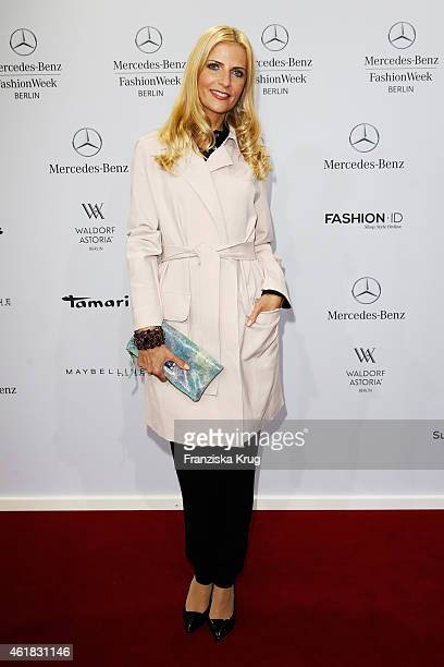 Tanja Buelter attends the Marc Cain show during the MercedesBenz Fashion Week Berlin Autumn/Winter 2015/16 at Brandenburg Gate on January 20 2015 in...