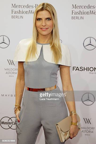 Tanja Buelter attends the Tulpen Design show during the MercedesBenz Fashion Week Berlin Autumn/Winter 2016 at Brandenburg Gate on January 21 2016 in...