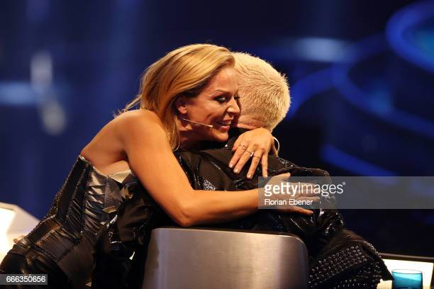 Tanja Hewer alias Michelle and HP Baxxter during the first event show of the tv competition 'Deutschland sucht den Superstar' at Coloneum on April 8...