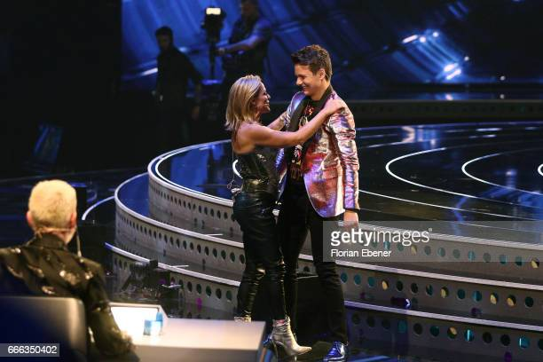 Tanja Hewer alias Michelle and Sandro Brehorst during the first event show of the tv competition 'Deutschland sucht den Superstar' at Coloneum on...