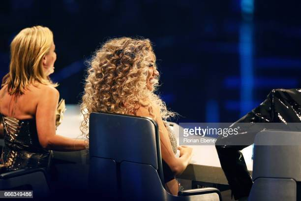 Tanja Hewer alias Michelle and Shirin David during the first event show of the tv competition 'Deutschland sucht den Superstar' at Coloneum on April...