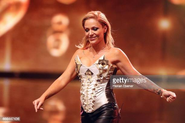 Tanja Hewer alias Michelle during the first event show of the tv competition 'Deutschland sucht den Superstar' at Coloneum on April 8 2017 in Cologne...