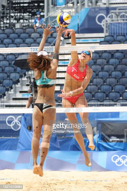 Tanja Huberli of Team Switzerland hits against Team Japan during the Women's Preliminary Round - Pool F beach volleyball on day five of the Tokyo...