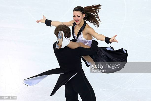 Tanja Kolbe and Stefano Caruso of Germany compete during the Figure Skating Ice Dance Short Dance on day 9 of the Sochi 2014 Winter Olympics at...