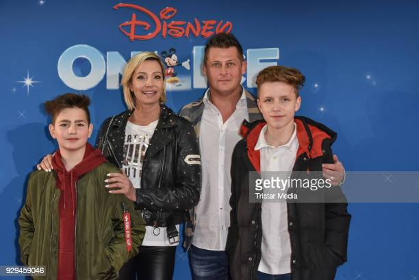 Tanja Lasch with her boyfriend Reik Seefeld and her sons attend the Disney on Ice premiere 'Fantastische Abenteuer' at Velodrom on March 8 2018 in...