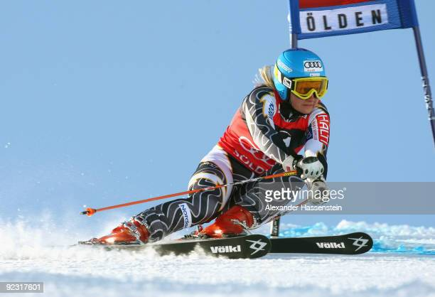 Tanja Poutiainen of Finland competes in the Women's giant slalom event of the Woman's Alpine Skiing FIS World Cup at the Rettenbachgletscher on...