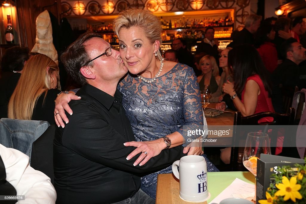 Tanja Schumann and her husband Stefan Burmeister during the 11th anniversary 'Highway to Helles' of 'Bachmaier Hofbraeu' in Munich on April 30, 2016 in Munich, Germany.