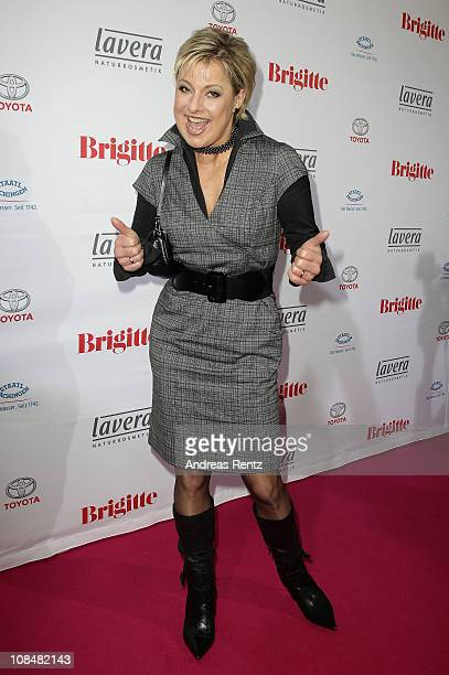 Tanja Schumann arrives for the BRIGITTE fashion event at the Hamburg Cruise Center on January 28 2011 in Hamburg Germany