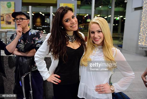 Tanja Tischewitsch and Angelina Heger poses before the flight to Australia as a participants in the 2015 RTLTVShow 'Dschungelcamp Ich bin ein Star...