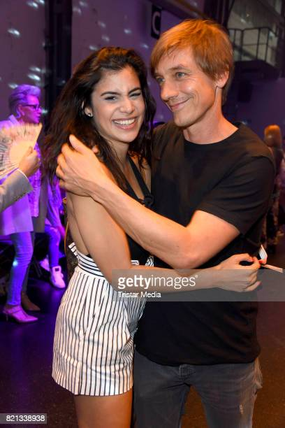 Tanja Tischewitsch and her boyfriend Thomas Radeck attend the Thomas Rath show during Platform Fashion July 2017 at Areal Boehler on July 23 2017 in...