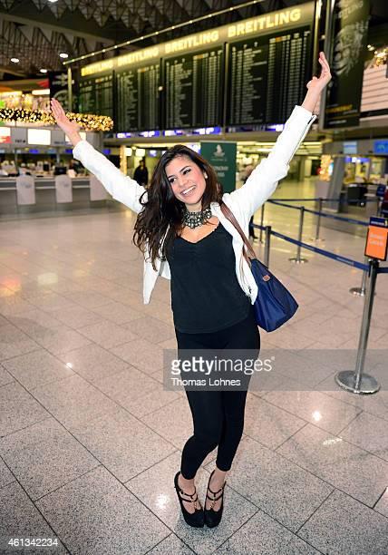 Tanja Tischewitsch poses before the flight to Australia as a participant in the 2015 RTLTVShow 'Dschungelcamp Ich bin ein Star Holt mich hier raus'...