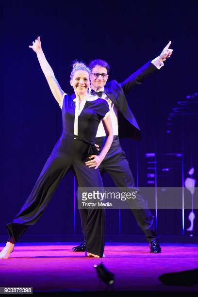 Tanja Wedhorn and Oliver Mommsen during a press rehearsall of the 'Die Tanzstunde' play on January 11, 2018 in Berlin, Germany.