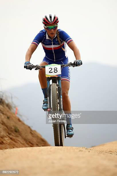 Tanja Zakelj of Slovenia races during the Women's CrossCountry Mountain Bike Race on Day 15 of the Rio 2016 Olympic Games at the Mountain Bike Centre...