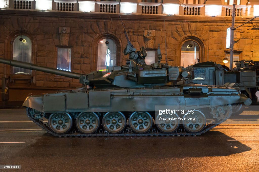 T-90 tank, a Russian battle tank of third generation, Moscow, Russia : Stock Photo