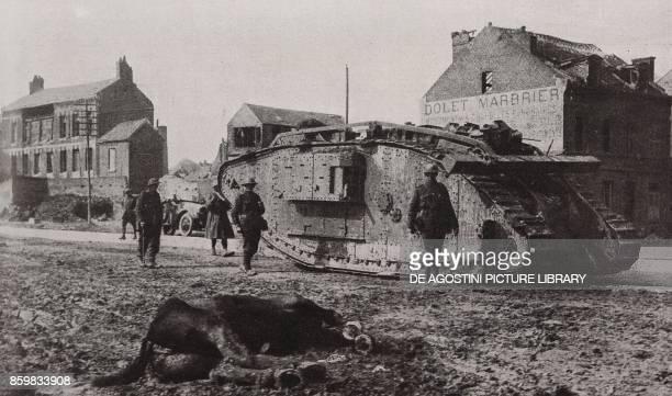 A tank advancing to support the infantry France Spring Offensive World War I from l'Illustrazione Italiana Year XLV No 18 May 5 1918