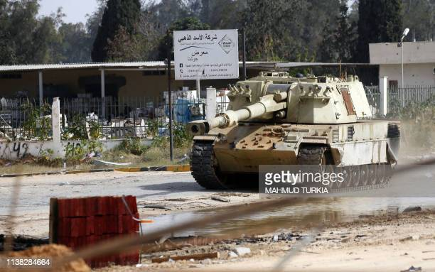 A tank belonging to Libyan fighters loyal to the Government of National Accord is pictured during clashes with forces loyal to strongman Khalifa...