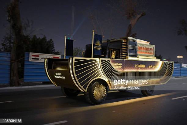 Tank carrying one of the royal mummies drives along the Nile corniche during the parade on April 3, 2021 in Cairo, Egypt. In what officials here...