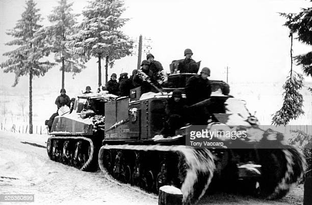 Tank convoy through the Ardennes Belgium during the Battle of the Bulge World War II January 1945