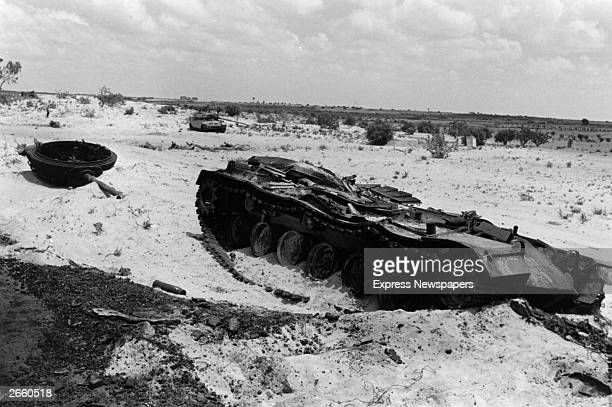 A tank destroyed and abandoned in the desert during the Six Day War