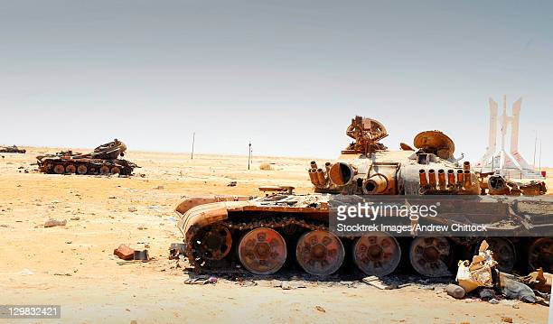 A T-80 tank destroyed by NATO forces in the desert north of Ajadabiya, Libya.