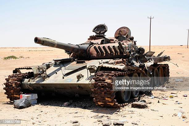 A T-70 tank destroyed by NATO forces in the desert north of Ajadabiya, Libya.