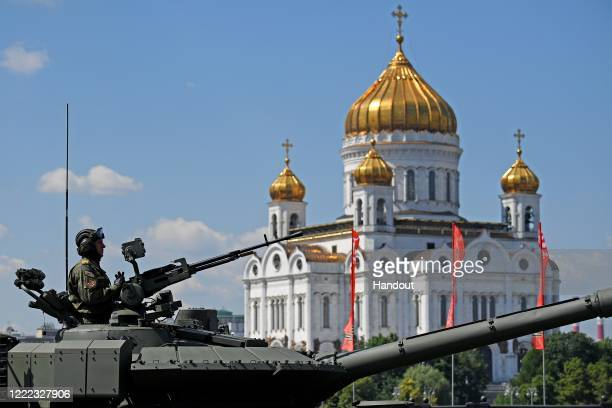 Tank drives through Moscow during the Victory Day military parade in Red Square marking the 75th anniversary of the victory in World War II, on June...