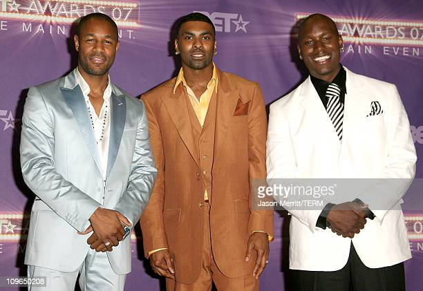 Tank Ginuwine and Tyrese Gibson presenters during BET Awards 2007 Press Room at Shrine Auditorium in Los Angeles California United States