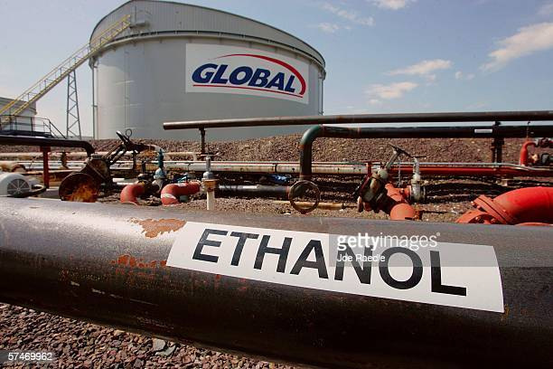 A tank holding Ethanol a fuel additive is seen at a fuel tank farm in the Global Petroleum facility April 27 2006 in Boston Massachusetts The company...