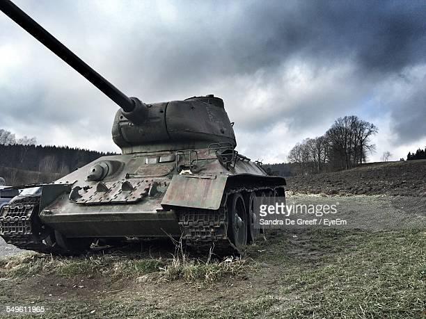 tank in field - armored tank stock photos and pictures