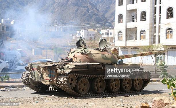 A tank is seen as People's Resistance Forces belonging to the national army of Yemeni President Abd Rabbuh Mansur Hadi and Houthis clash near the...