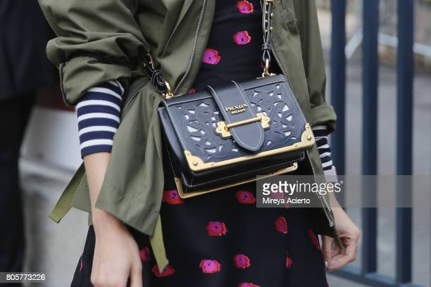 Tank Magazine's executive fashion director Caroline Issa purse detail attends the Haute Couture fashion show on July 2 2017 in Paris France