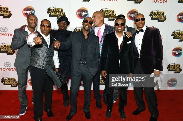 Tank Michael Bivins Bobby Brown Ralph Tresvant Paxton Baker Rickey Bell Ginuwine and Ronnie Devoe arrive at the Soul Train Awards 2012 at PH Live at...