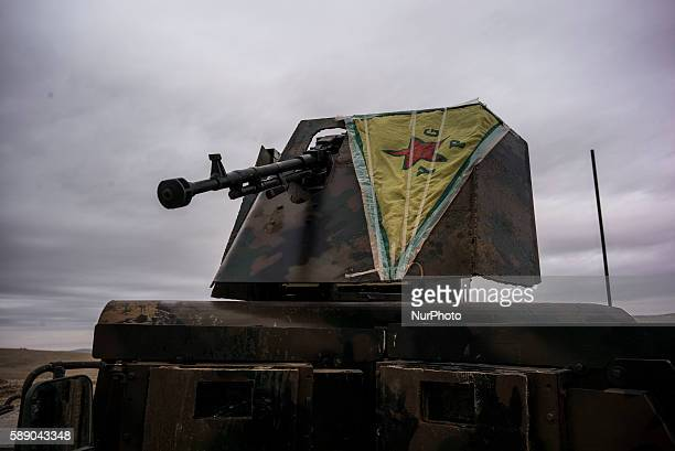 A tank of Syrian People's Protection Units in frontline of Raqqa on January 3 2016
