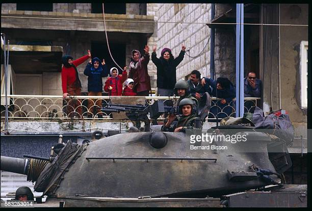 Tank of the Eighth Brigade of the Lebanese Army near the residence of President Gemayel during combat between Muslim militias