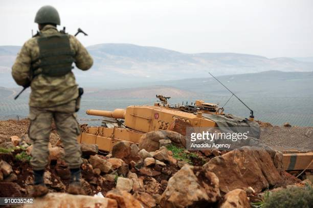 A tank of Turkish Armed Forces is seen within the 'Operation Olive Branch' against PYD/PKK in Afrin Aleppo Syria on January 25 2018 Turkey launched...