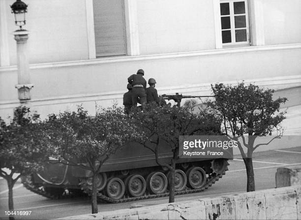 A tank patrolling the streets of Athens after the military coup d'etat by Colonel George PAPADOPOULOS on April 28 1967