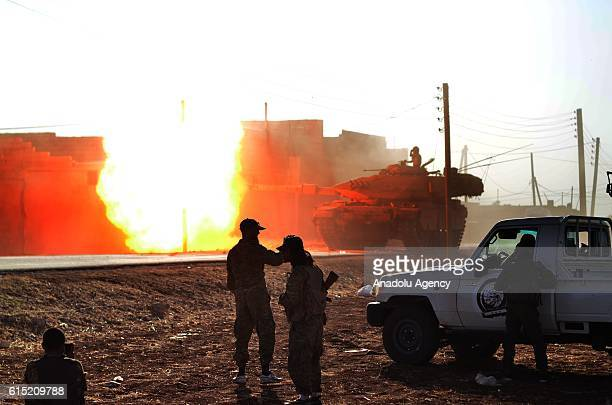 Tank, positioned in the secured zone between Azaz and Jarabulus Districts, attacks Daesh terrorists' targets, located approximately 20 km away from...